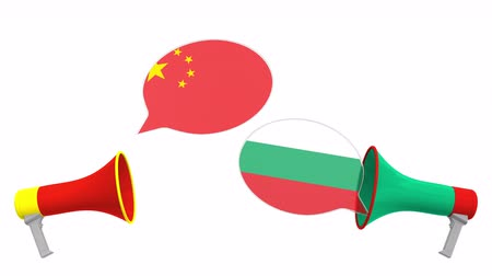 búlgaro : Speech bubbles with flags of Bulgaria and China and loudspeakers. Intercultural dialogue or international talks related 3D animation
