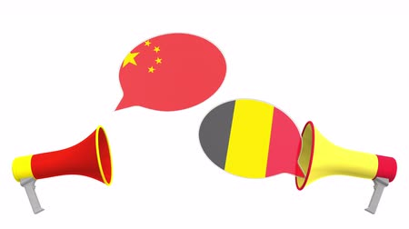 political speech : Flags of Belgium and China on speech bubbles with loudspeakers. Intercultural dialogue or international talks related 3D animation