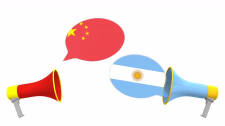 debata : Speech bubbles with flags of Argentina and China. Intercultural dialogue or international talks related 3D animation