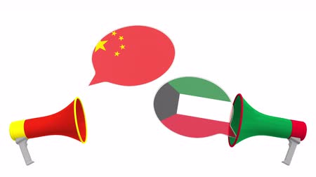 debat : Flags of Kuwait and China on speech balloons from megaphones. Intercultural dialogue or international talks related 3D animation