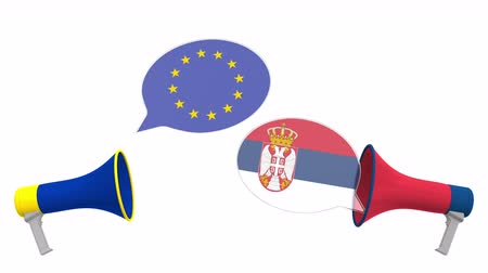 political speech : Speech bubbles with flags of Serbia and the EU and loudspeakers. Intercultural dialogue or international talks related 3D animation