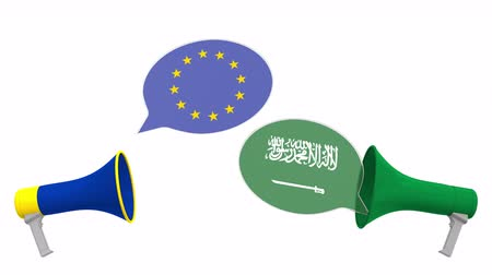 debata : Flags of Saudi Arabia and the European Union on speech balloons from megaphones. Intercultural dialogue or international talks related 3D animation