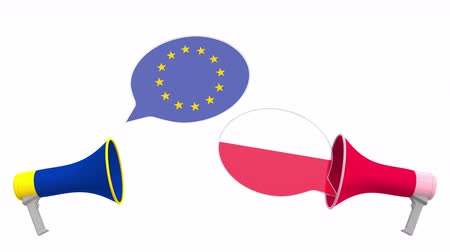 mitgliedschaft : Speech bubbles with flags of Poland and the European Union EU. Intercultural dialogue or international talks related 3D animation