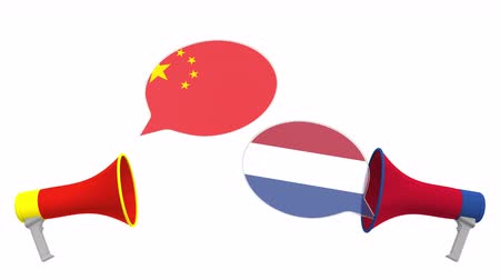political speech : Flags of Netherlands and China on speech bubbles with loudspeakers. Intercultural dialogue or international talks related 3D animation