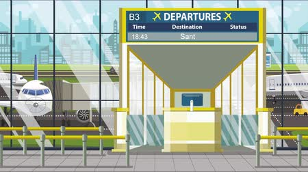 bilet : Airport departure board with Santos caption. Travel in Brazil related loopable cartoon animation