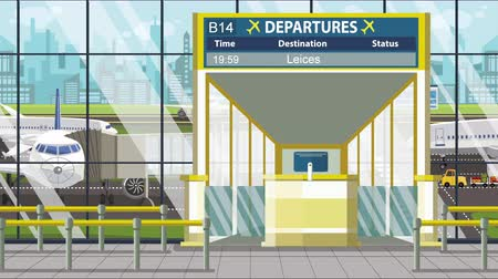 pbb : Departure board in the airport terminal with Leicester caption. Travel to the United Kingdom loopable cartoon animation