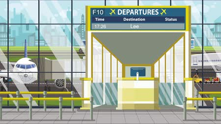 orta hava : Airport departure board with Leeds caption. Travel to the United Kingdom related loopable cartoon animation