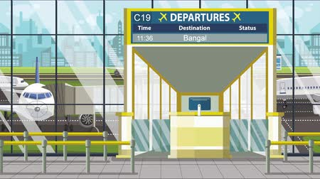 gangway : Airport terminal. Departure board above the gate with Bangalore text. Travel to India loopable cartoon animation