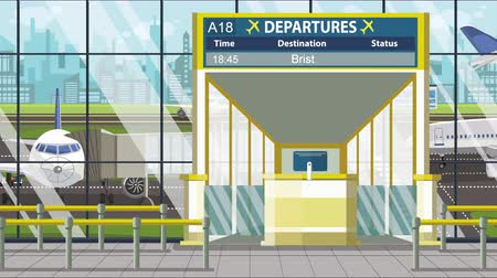 gangway : Flight to Bristol on airport departure board. Trip to the United Kingdom loopable cartoon animation