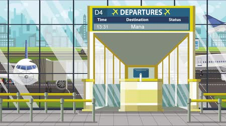 pbb : Airport terminal. Departure board above the gate with Manama text. Travel to Bahrain loopable cartoon animation