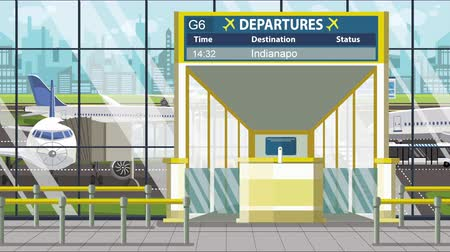 gangway : Departure board in the airport terminal with Indianapolis caption. Travel to the United States loopable cartoon animation