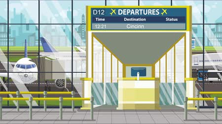 pbb : Airport gate. Departure board with Cincinnati text. Travel to the United States related loopable cartoon animation
