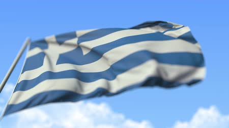 greek flag : Flying national flag of Greece, low angle view. Loopable realistic slow motion 3D animation Stock Footage