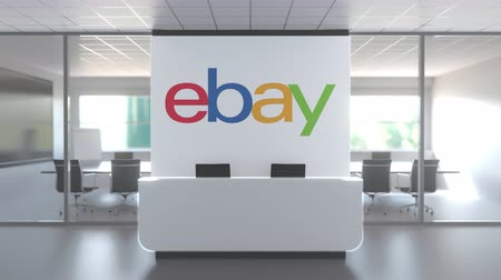 ebay : EBAY logo above reception desk in the modern office, editorial conceptual 3D animation