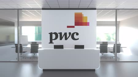 pwc : Logo of PWC on a wall in the modern office, editorial conceptual 3D animation