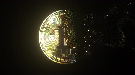 disintegration : Total disintegration of a BTC bitcoin token. Cryptocurrency collapse related conceptual 3D animation