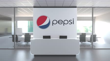 pepsico : PEPSI logo in modern office and a meeting room, editorial conceptual 3D animation