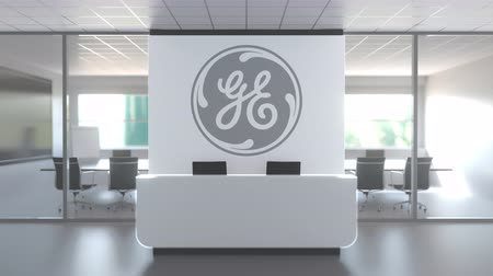 general electric : Logo of GENERAL ELECTRIC on a wall in the modern office, editorial conceptual 3D animation