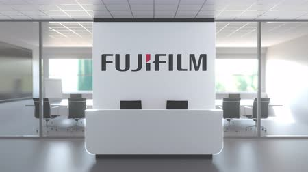 oficial : Logo of FUJIFILM on a wall in the modern office, editorial conceptual 3D animation