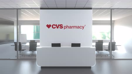 oficial : CVS PHARMACY logo above reception desk in the modern office, editorial conceptual 3D animation