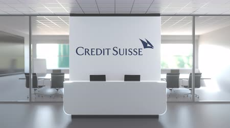 credit suisse : CREDIT SUISSE logo above reception desk in the modern office, editorial conceptual 3D animation