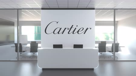 oficial : CARTIER logo in modern office and a meeting room, editorial conceptual 3D animation