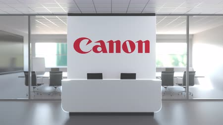 canon : CANON logo above reception desk in the modern office, editorial conceptual 3D animation