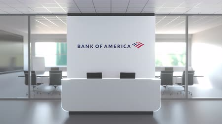 боа : Logo of BANK OF AMERICA on a wall in the modern office, editorial conceptual 3D animation