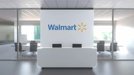 walmart : Logo of WALMART, INC. on a wall in the modern office, editorial conceptual 3D animation