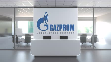 gazprom : Logo of GAZPROM on a wall in the modern office, editorial conceptual 3D animation Stock Footage