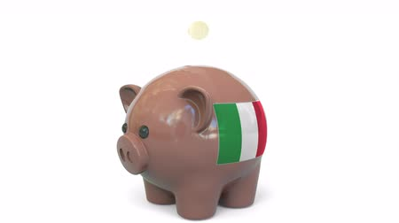 penny : Putting money into piggy bank with flag of Italy. Tax system system or savings related conceptual 3D animation Stock Footage
