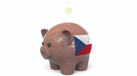 centavo : Putting money into piggy bank with flag of the Czech Republic. Tax system system or savings related conceptual 3D animation Stock Footage