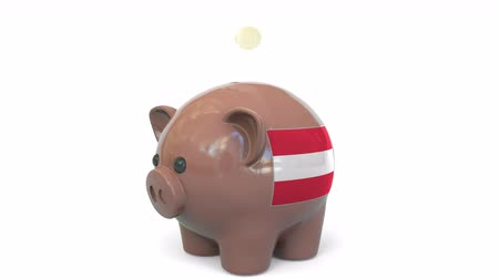 kuruş : Putting money into piggy bank with flag of Austria. Tax system system or savings related conceptual 3D animation