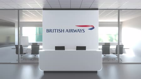 ba : Logo of BRITISH AIRWAYS on a wall in the modern office, editorial conceptual 3D animation Stock Footage