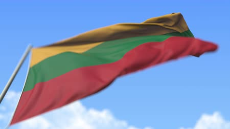 flag of lithuania : Flying national flag of Lithuania, low angle view. Loopable realistic slow motion 3D animation