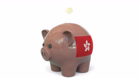 penny : Putting money into piggy bank with flag of Hong Kong. Tax system system or savings related conceptual 3D animation Stock Footage