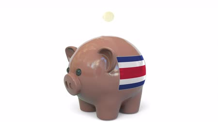 penny : Putting money into piggy bank with flag of Costa Rica. Tax system system or savings related conceptual 3D animation Stock Footage