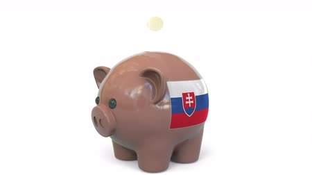 centavo : Putting money into piggy bank with flag of Slovakia. Tax system system or savings related conceptual 3D animation