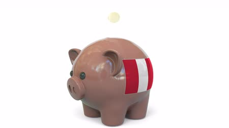 kuruş : Putting money into piggy bank with flag of Peru. Tax system system or savings related conceptual 3D animation