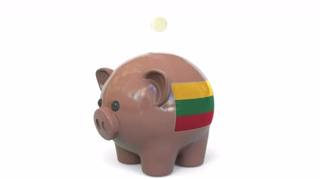 centavo : Putting money into piggy bank with flag of Lithuania. Tax system system or savings related conceptual 3D animation