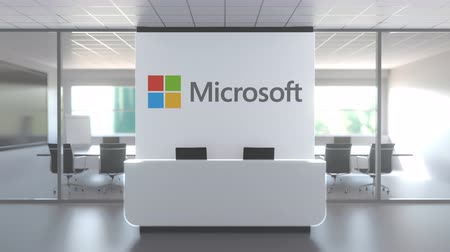 logo : MICROSOFT logo above reception desk in the modern office, editorial conceptual 3D animation
