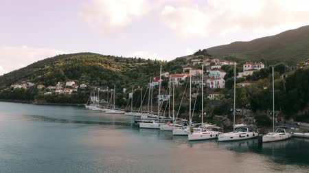 отступление : Aerial view of docked sailing boats. Kioni, Ithaca island, Greece