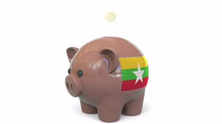 mianmar : Putting money into piggy bank with flag of Myanmar. Tax system system or savings related conceptual 3D animation