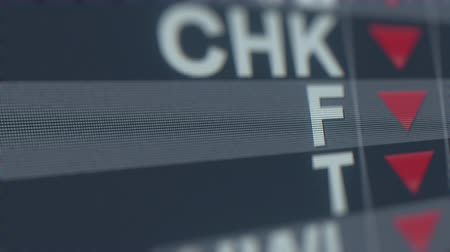 fósforo : FORD MOTOR F stock ticker with decreasing arrow. Editorial crisis related loopable animation Stock Footage