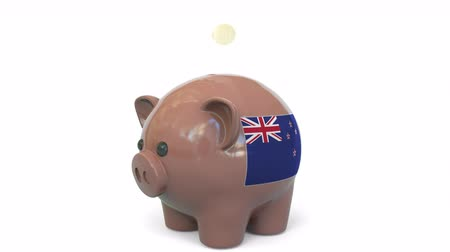 centavo : Putting money into piggy bank with flag of New Zealand. Tax system system or savings related conceptual 3D animation Stock Footage
