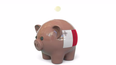 penny : Putting money into piggy bank with flag of Malta. Tax system system or savings related conceptual 3D animation