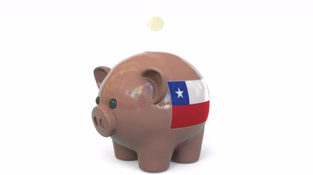 kuruş : Putting money into piggy bank with flag of Chile. Tax system system or savings related conceptual 3D animation Stok Video