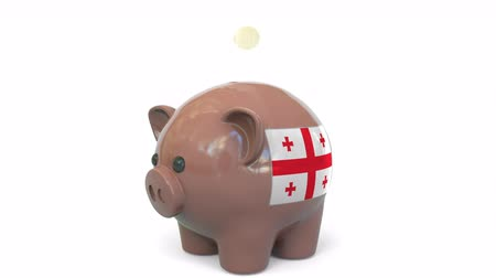 centavo : Putting money into piggy bank with flag of Georgia. Tax system system or savings related conceptual 3D animation