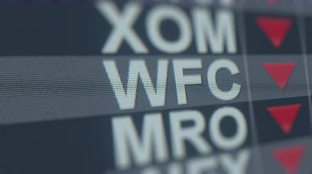 снижение : WELLS FARGO WFC stock ticker with decreasing arrow, conceptual Editorial crisis related loopable animation