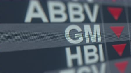 hanyatlás : GENERAL MOTORS GM stock ticker with decreasing arrow. Editorial crisis related loopable animation